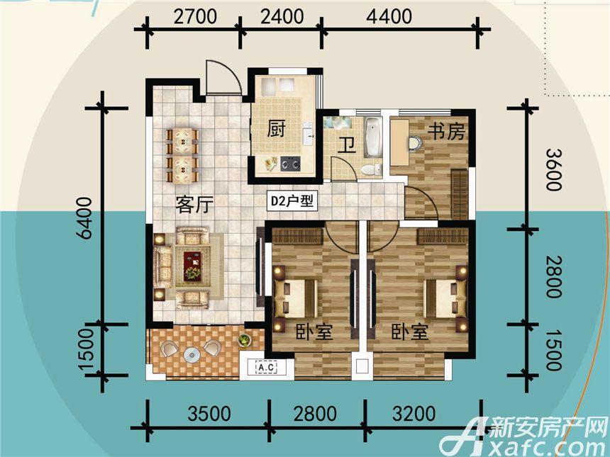 宜秀蓝湾D23室2厅90平米
