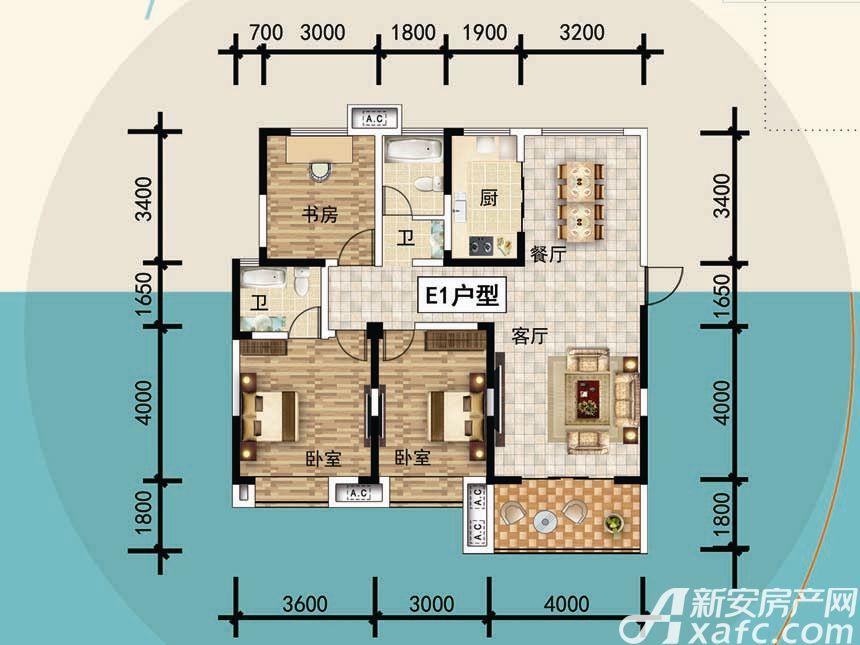 宜秀蓝湾E13室2厅125平米