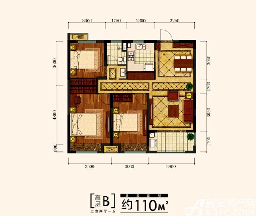 金大地时代公馆金大地时代公馆高层B户型3室2厅110平米