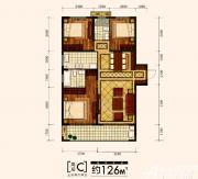 金大地时代公馆高层C户型3室2厅126㎡
