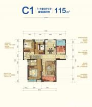宝能城B地块C13室2厅115㎡