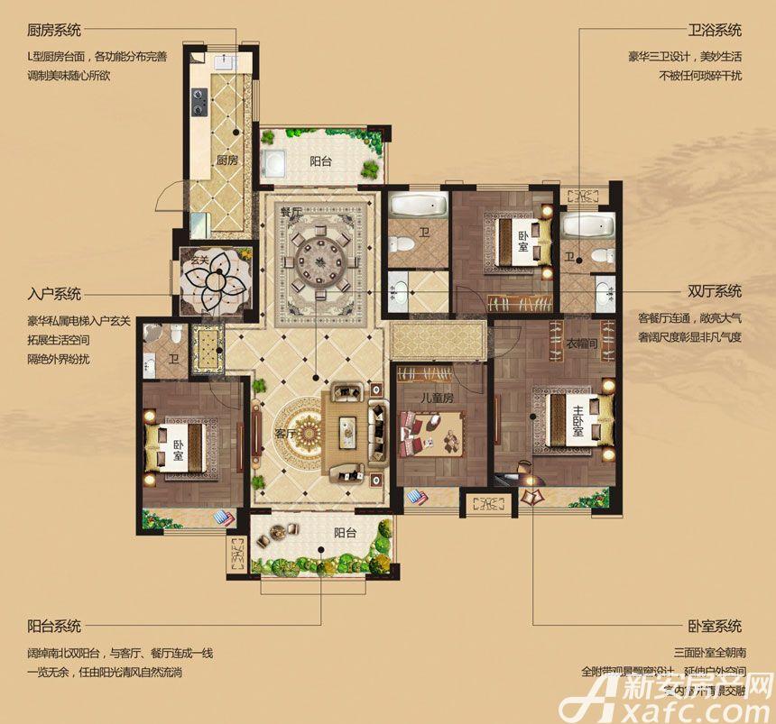 湖山壹品花园洋房D3户型4室2厅151.89平米