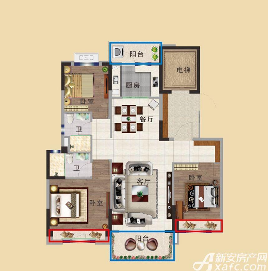 碧桂园首府YJ115T3室2厅115平米