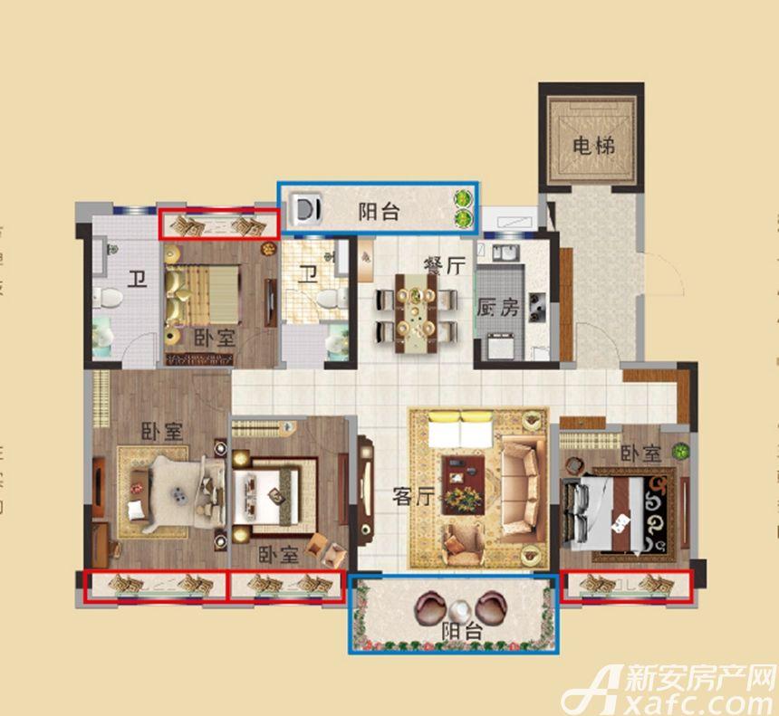 碧桂园首府YJ140T4室2厅140平米