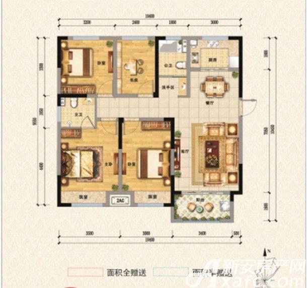东方名城四方4室2厅114.06平米