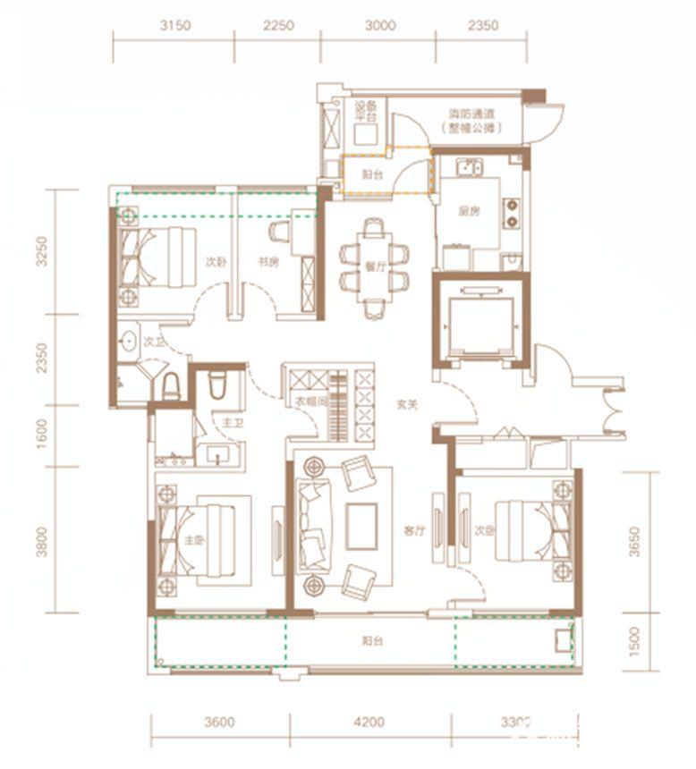 融创信达·政务壹号建筑面积约145㎡户型高层4室2厅145平米