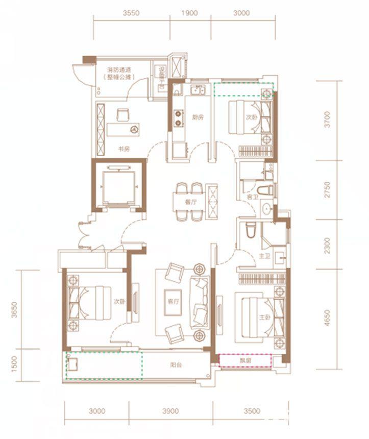 融创信达·政务壹号建筑面积约134㎡户型高层4室2厅134平米