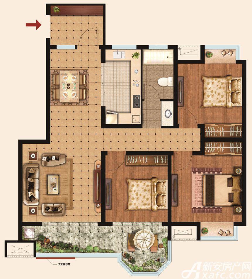 荣盛华府Y13室1厅112平米