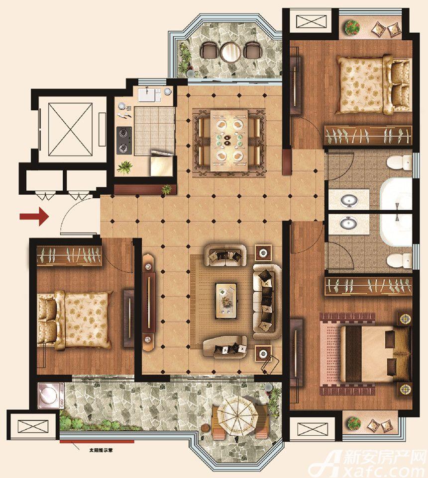 荣盛华府Y23室2厅126平米