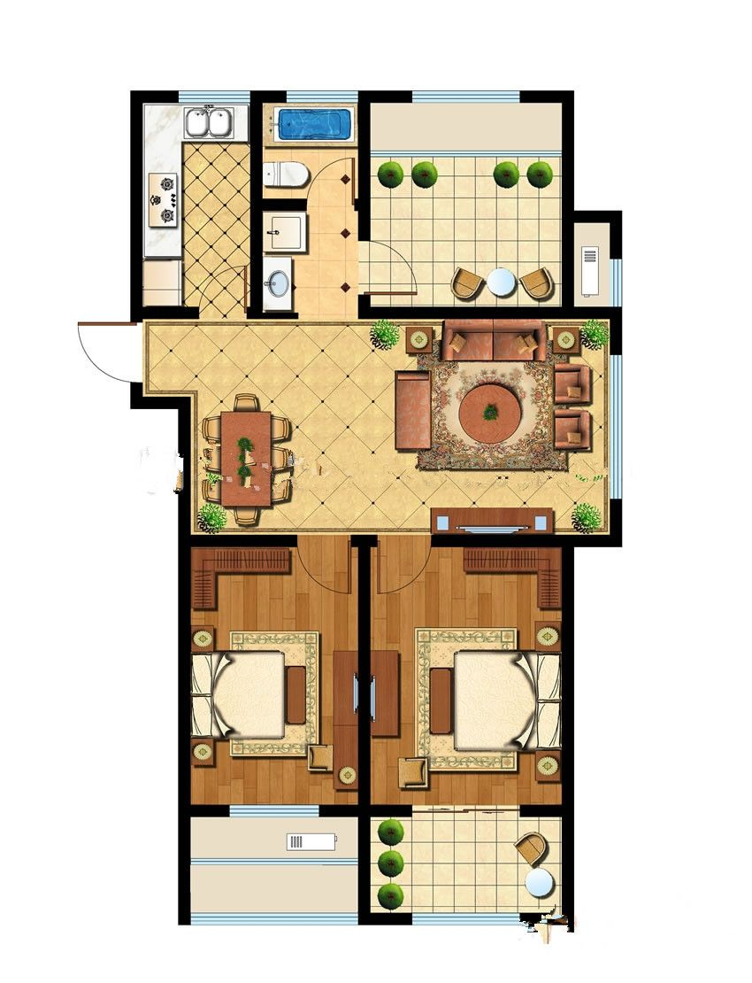 智诚御府二室2室2厅103平米