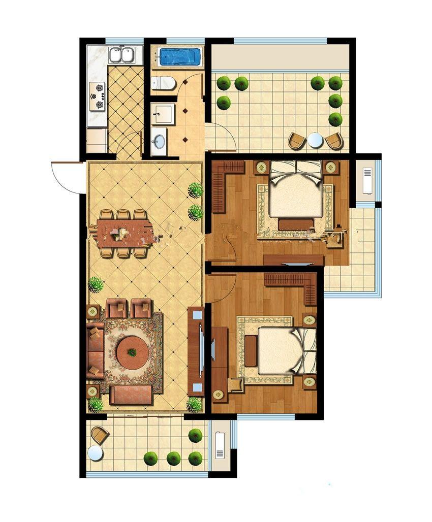 智诚御府三室3室2厅109平米