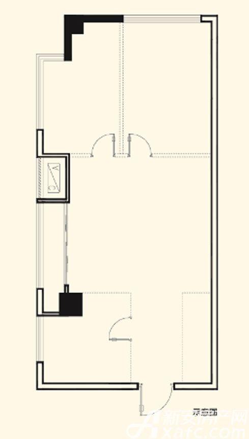 光明北部湾双子星座E01户型1室1厅68.59平米