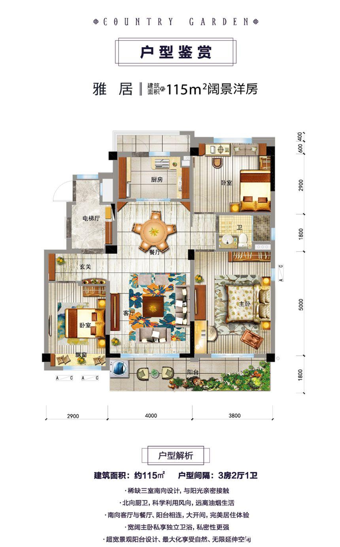 砀山碧桂园雅居3室2厅115平米