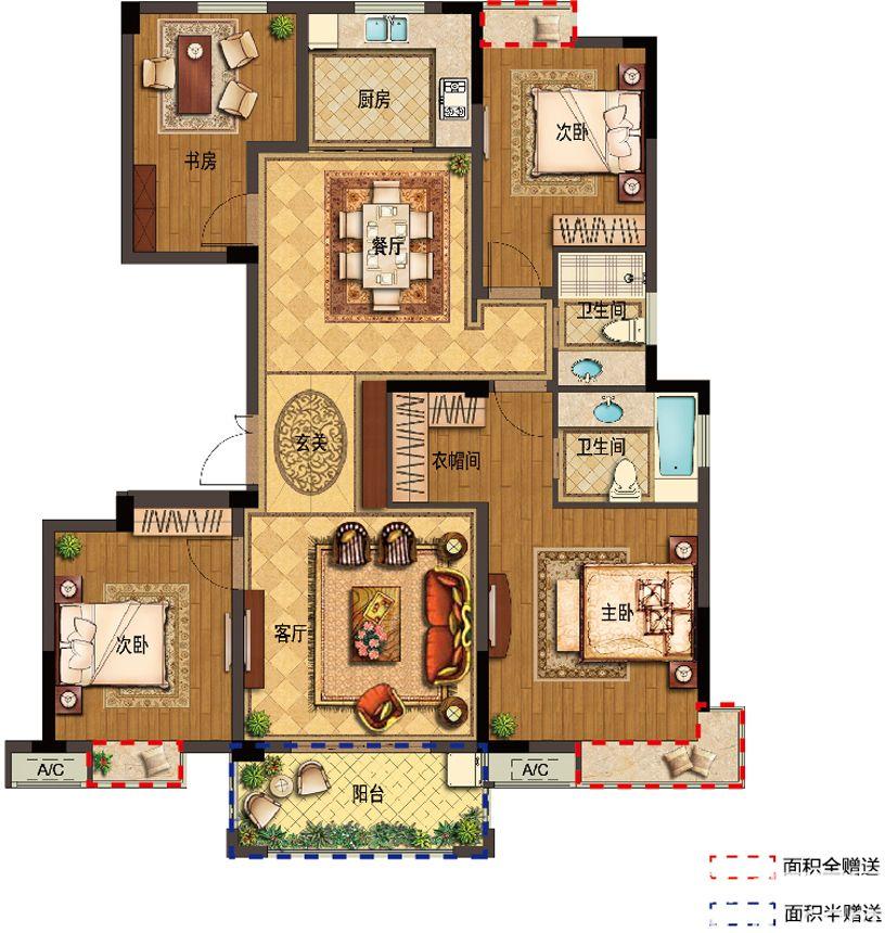 翰林公馆D24室2厅140平米