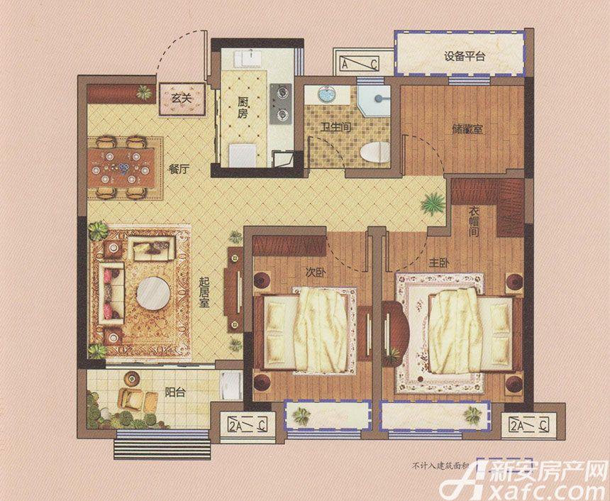 东方樾府C13室2厅89平米