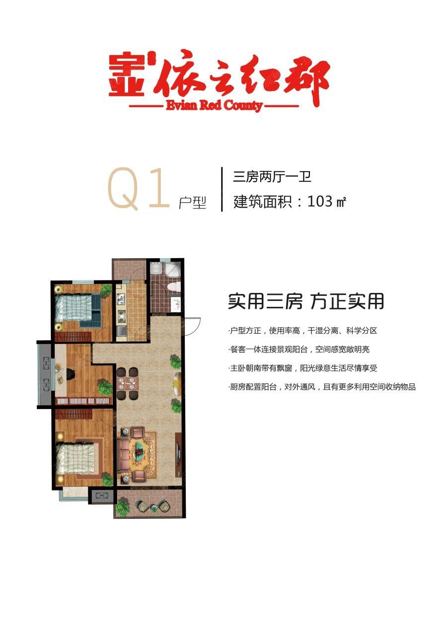 宇业依云红郡Q1户型3室2厅103平米