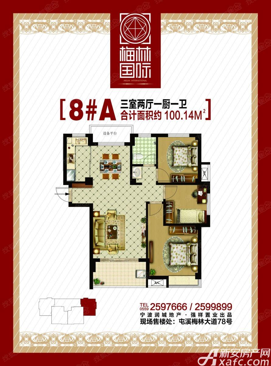 梅林国际8#A户型3室2厅100平米
