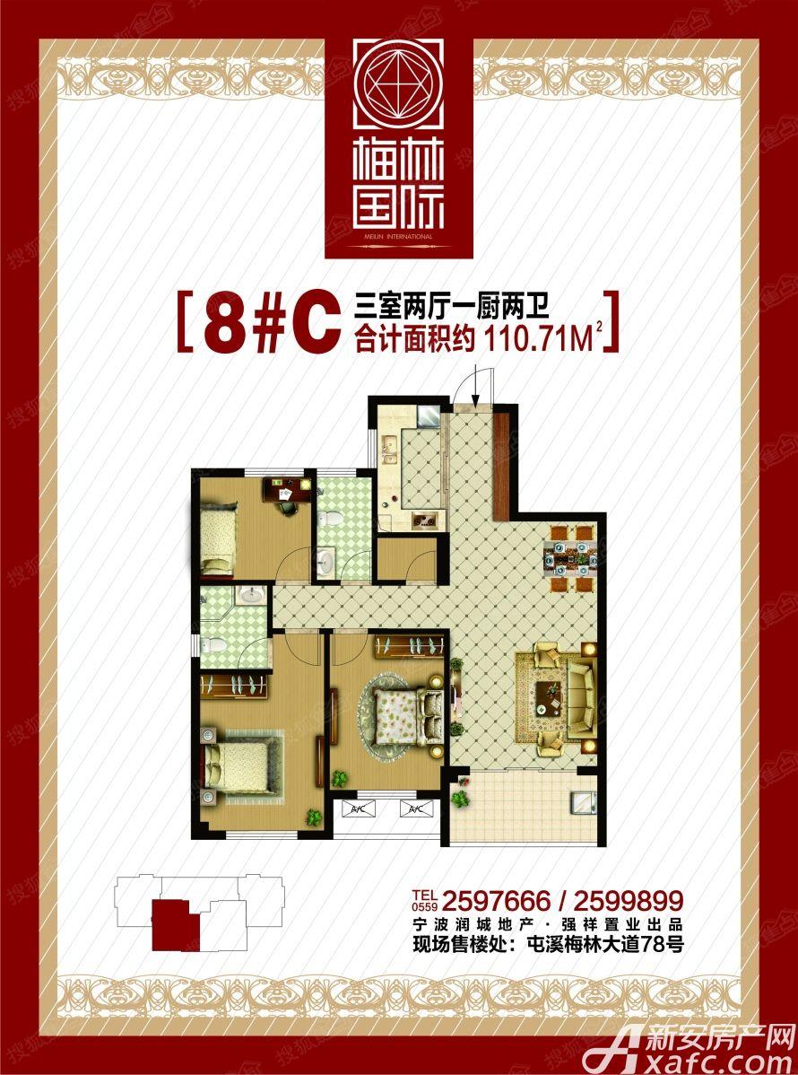 梅林国际8#C户型3室2厅110平米
