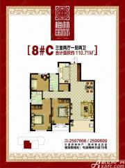 梅林国际8#C户型3室2厅110㎡
