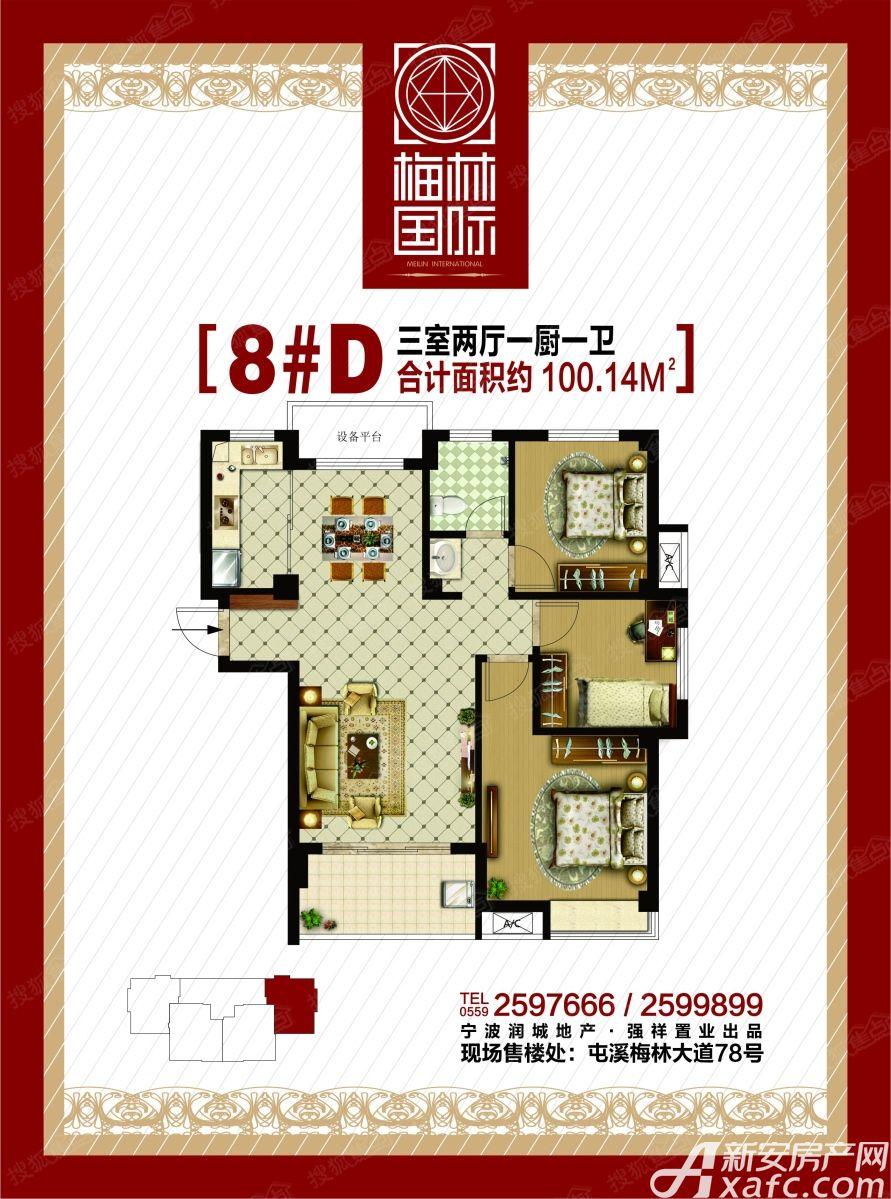梅林国际8#D户型3室2厅100平米