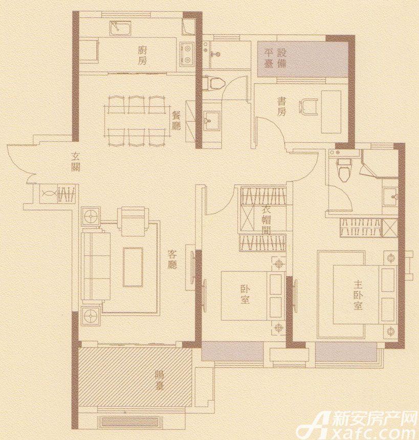 金隅南七里府悦户型3室2厅120平米