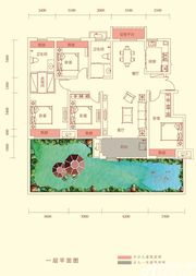 华盛南院Y1户型一层平面图4室2厅134㎡