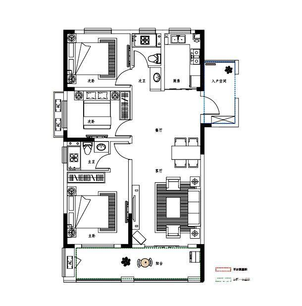 邦泰金域剑桥郡A户型3室2厅115平米