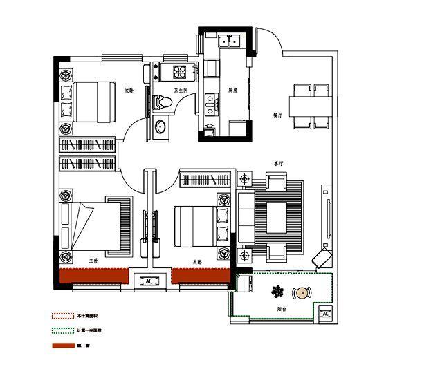 邦泰金域剑桥郡B户型3室2厅106平米