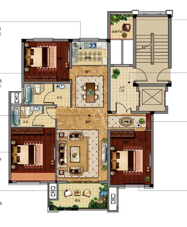 邦泰金域剑桥郡标准层中间套3室2厅120平米