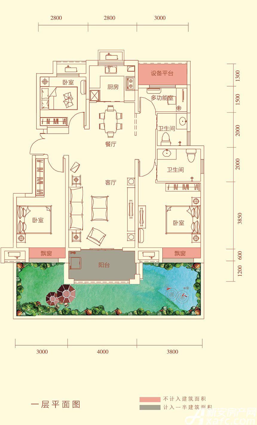 华盛南院Y2户型一层平面图3室2厅116平米