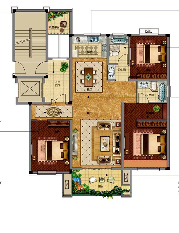 邦泰金域剑桥郡标准层边套3室2厅128平米