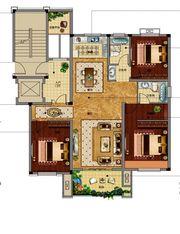 邦泰金域剑桥郡标准层边套3室2厅128㎡