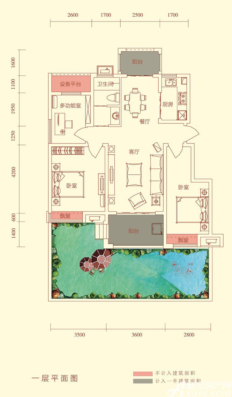 华盛南院Y3户型一层平面图3室2厅98平米