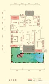 华盛南院Y3户型一层平面图3室2厅98㎡