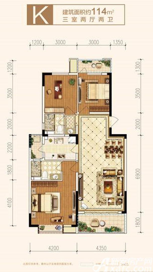 玉屏齐云府K户型3室2厅114平米
