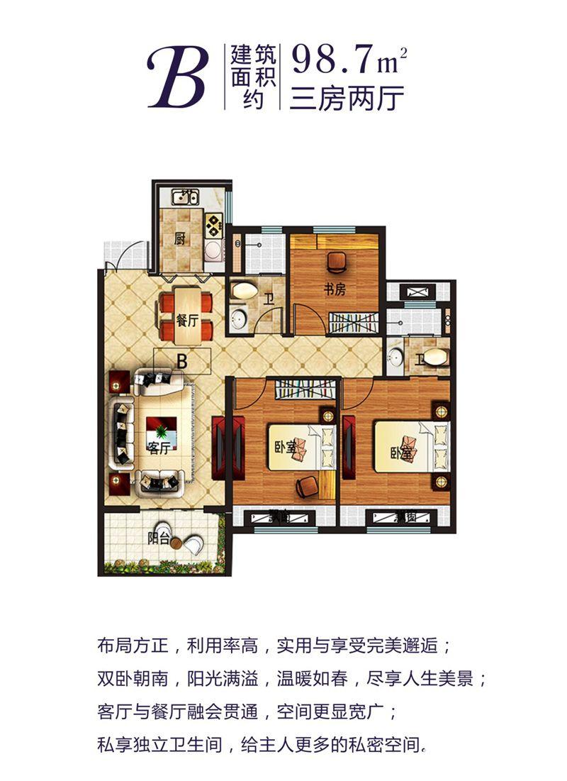 利辛佳源都市B户型3室2厅98.7平米