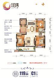建投泊湾C1户型3室2厅119.84㎡
