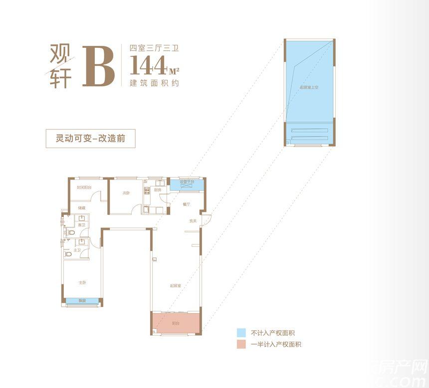 万科时代之光跃层观轩B4室3厅144平米