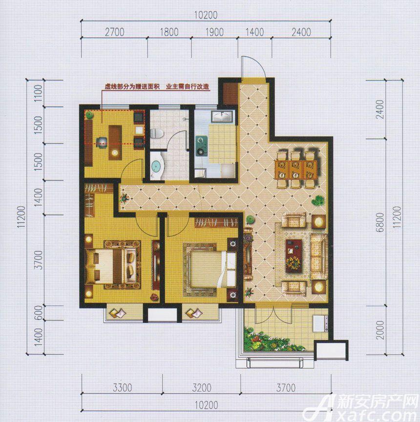 国际新城B户型3室2厅105平米