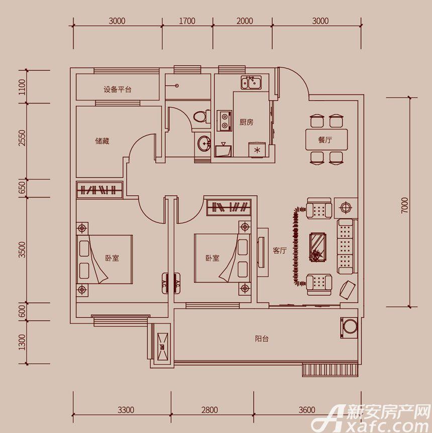 琥珀新天地E1户型3室2厅99平米