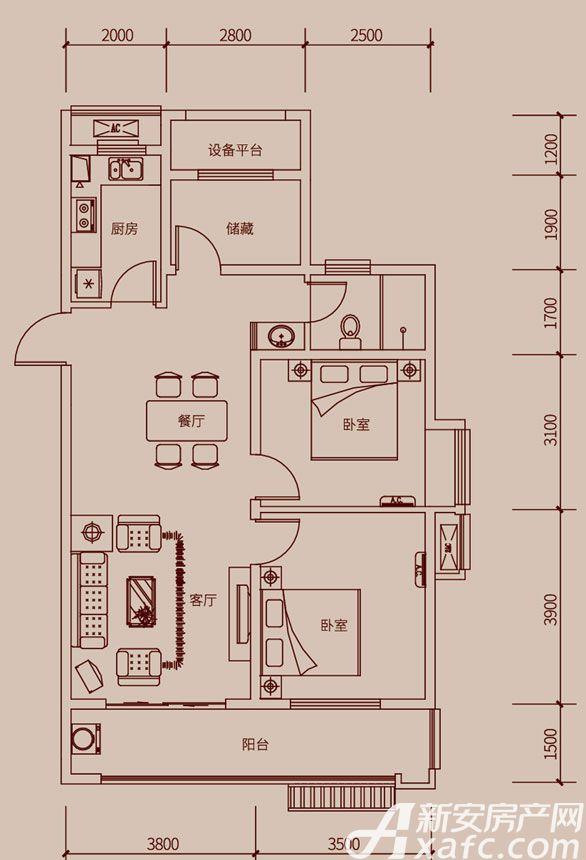 琥珀新天地E2户型3室2厅102平米