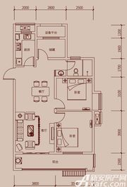 琥珀新天地E2户型3室2厅102㎡