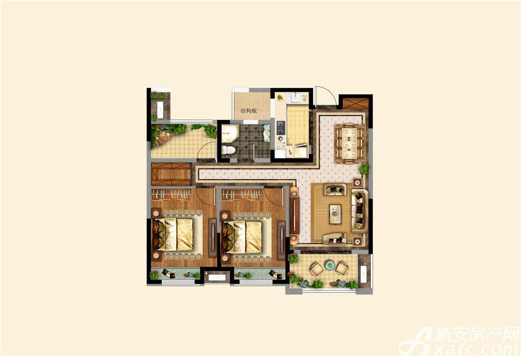 高速铜都天地W22室2厅98平米