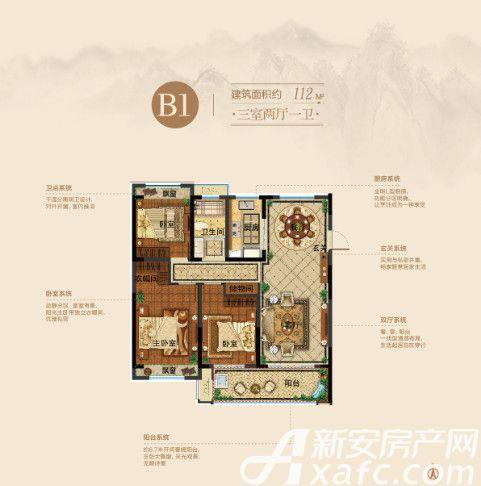皖新原筑南府B1户型3室2厅112平米