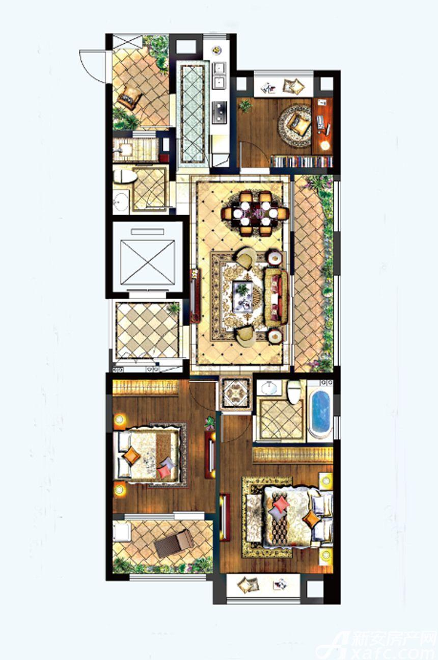 置地百悦府A户型3室2厅112平米