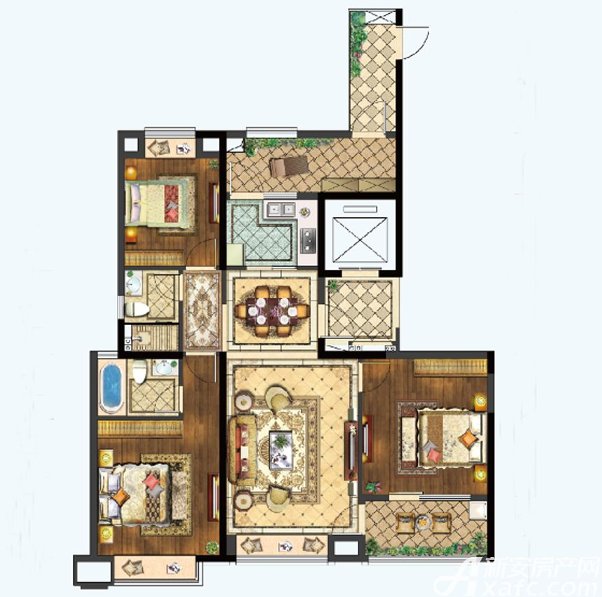 置地百悦府C户型3室2厅134平米
