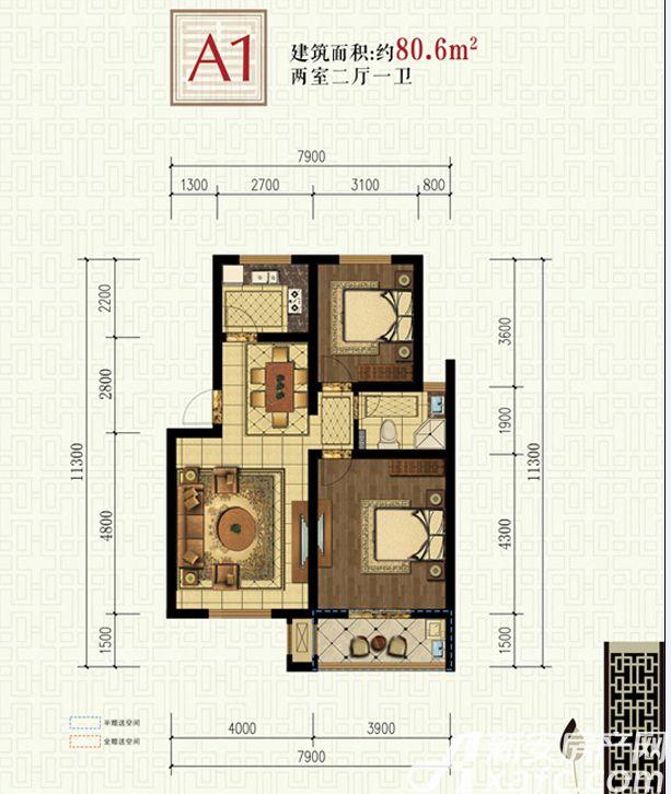 书香雅苑A12室2厅80.6平米