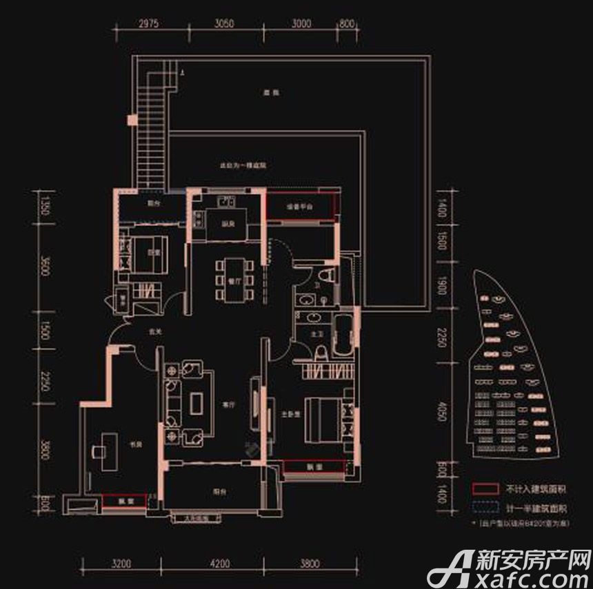 新华御府Y2户型3室2厅135平米