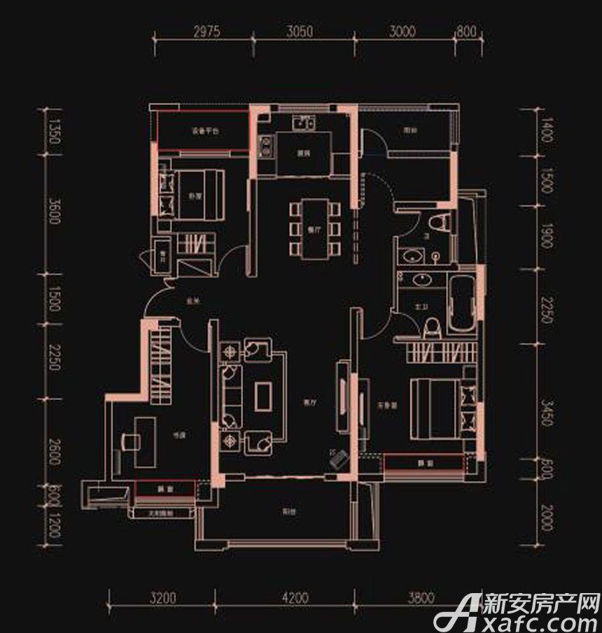 新华御府Y3户型3室2厅125平米