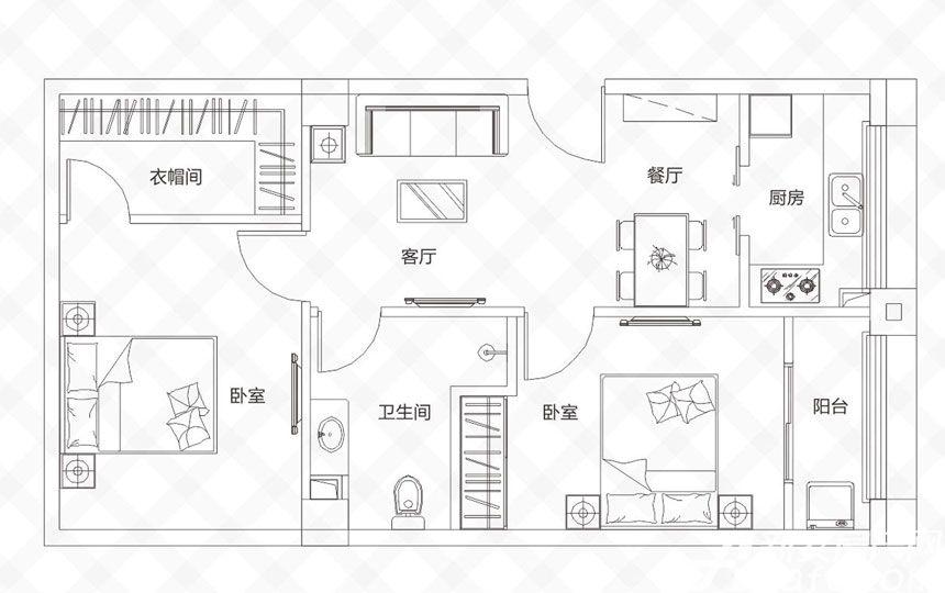 庐江中心城F户型-80.42㎡2室2厅80.42平米